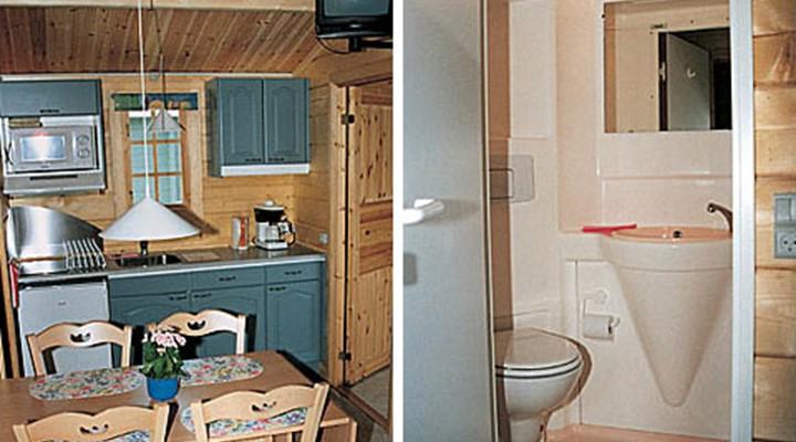 Køkken og spiseplads 25 kvm campinghytte