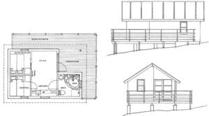 Floor plan of luxury holiday cabins with spa