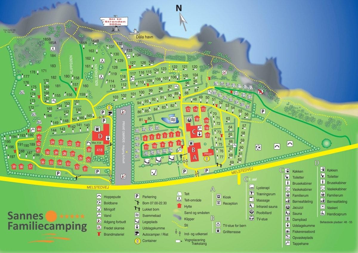Campsite Map - Sannes Familiecamping